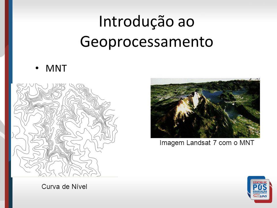 Introdução ao Geoprocessamento MNT Imagem Landsat 7 com o MNT Curva de Nível