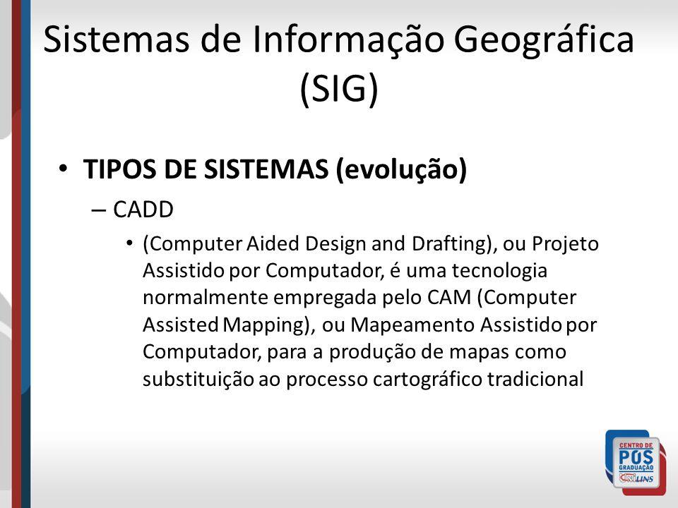 Sistemas de Informação Geográfica (SIG) TIPOS DE SISTEMAS (evolução) – CADD (Computer Aided Design and Drafting), ou Projeto Assistido por Computador,