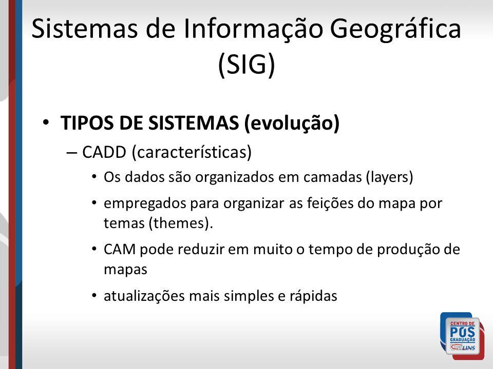 Sistemas de Informação Geográfica (SIG) TIPOS DE SISTEMAS (evolução) – CADD (características) Os dados são organizados em camadas (layers) empregados