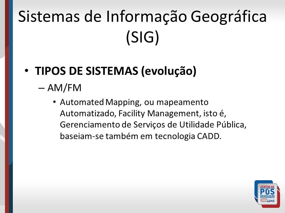 Sistemas de Informação Geográfica (SIG) TIPOS DE SISTEMAS (evolução) – AM/FM Automated Mapping, ou mapeamento Automatizado, Facility Management, isto