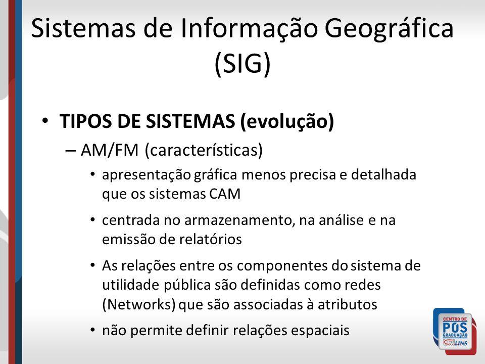 Sistemas de Informação Geográfica (SIG) TIPOS DE SISTEMAS (evolução) – AM/FM (características) apresentação gráfica menos precisa e detalhada que os s