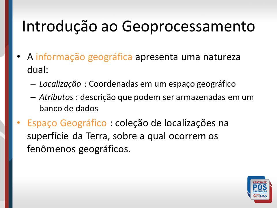 Introdução ao Geoprocessamento A informação geográfica apresenta uma natureza dual: – Localização : Coordenadas em um espaço geográfico – Atributos :