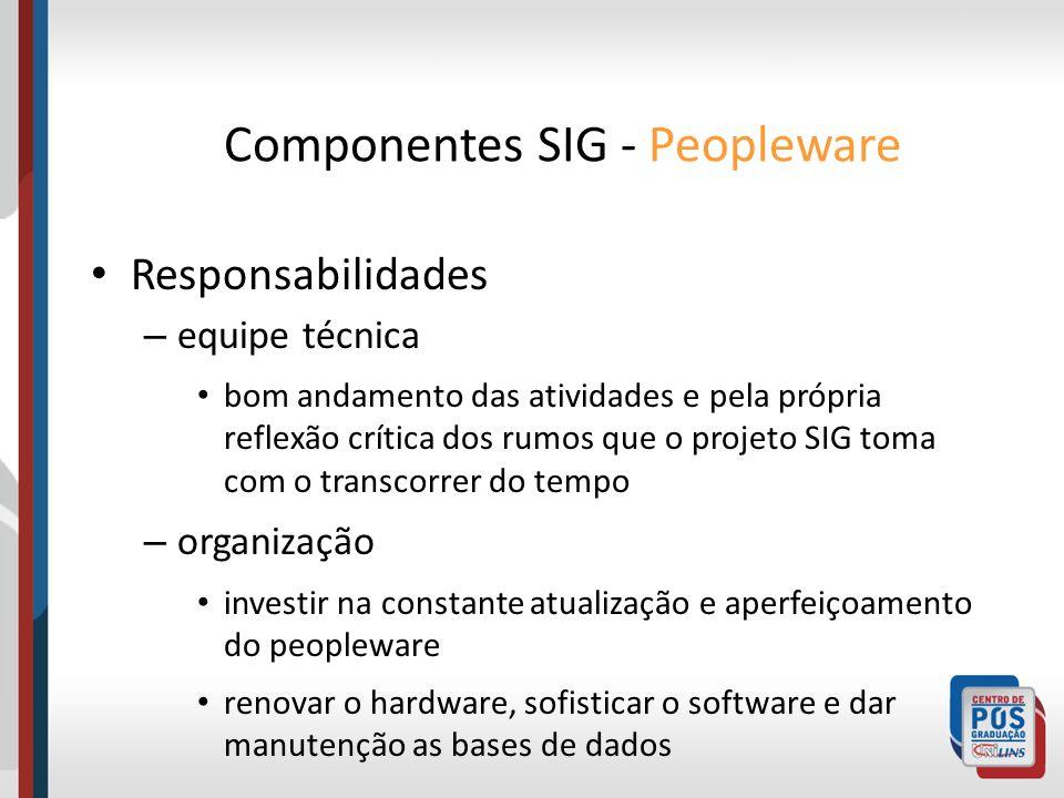 Responsabilidades – equipe técnica bom andamento das atividades e pela própria reflexão crítica dos rumos que o projeto SIG toma com o transcorrer do