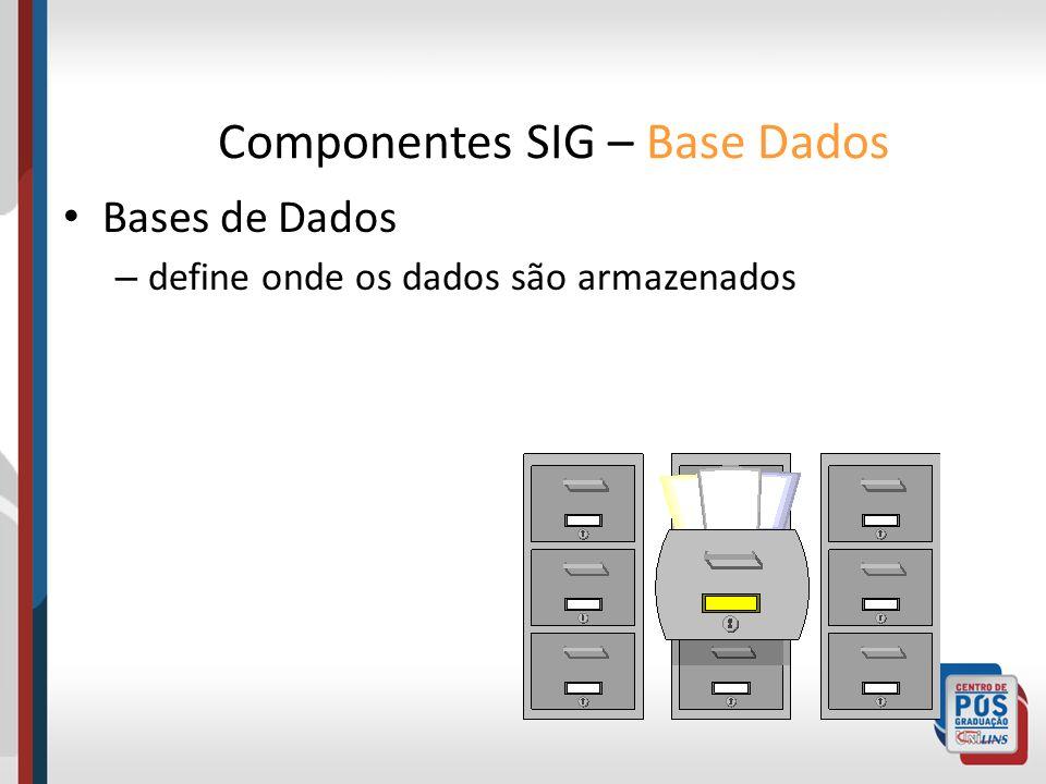 Bases de Dados – define onde os dados são armazenados Componentes SIG – Base Dados