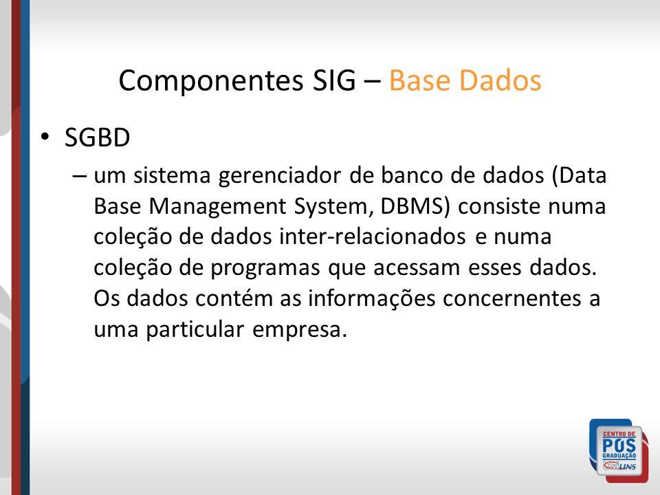 SGBD – um sistema gerenciador de banco de dados (Data Base Management System, DBMS) consiste numa coleção de dados inter-relacionados e numa coleção d