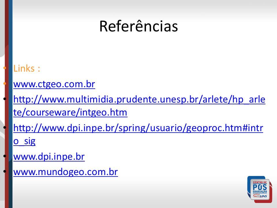 Referências Links : www.ctgeo.com.br http://www.multimidia.prudente.unesp.br/arlete/hp_arle te/courseware/intgeo.htm http://www.multimidia.prudente.un