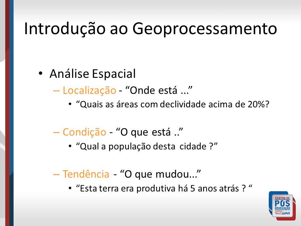 Introdução ao Geoprocessamento Análise Espacial – Localização - Onde está... Quais as áreas com declividade acima de 20%? – Condição - O que está.. Qu