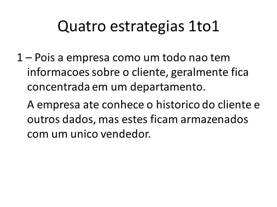 Quatro estrategias 1to1 1 – Pois a empresa como um todo nao tem informacoes sobre o cliente, geralmente fica concentrada em um departamento. A empresa