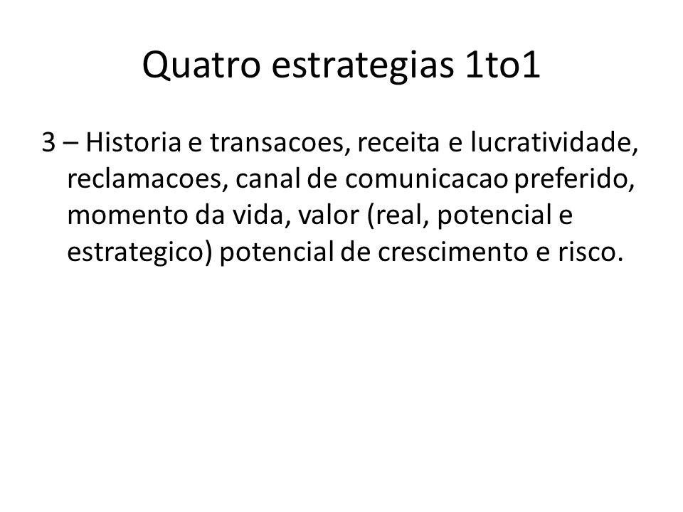 Quatro estrategias 1to1 3 – Historia e transacoes, receita e lucratividade, reclamacoes, canal de comunicacao preferido, momento da vida, valor (real,