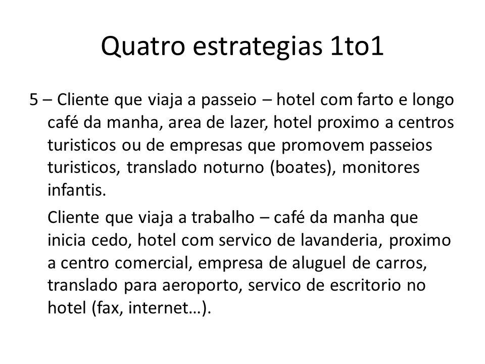 Quatro estrategias 1to1 5 – Cliente que viaja a passeio – hotel com farto e longo café da manha, area de lazer, hotel proximo a centros turisticos ou