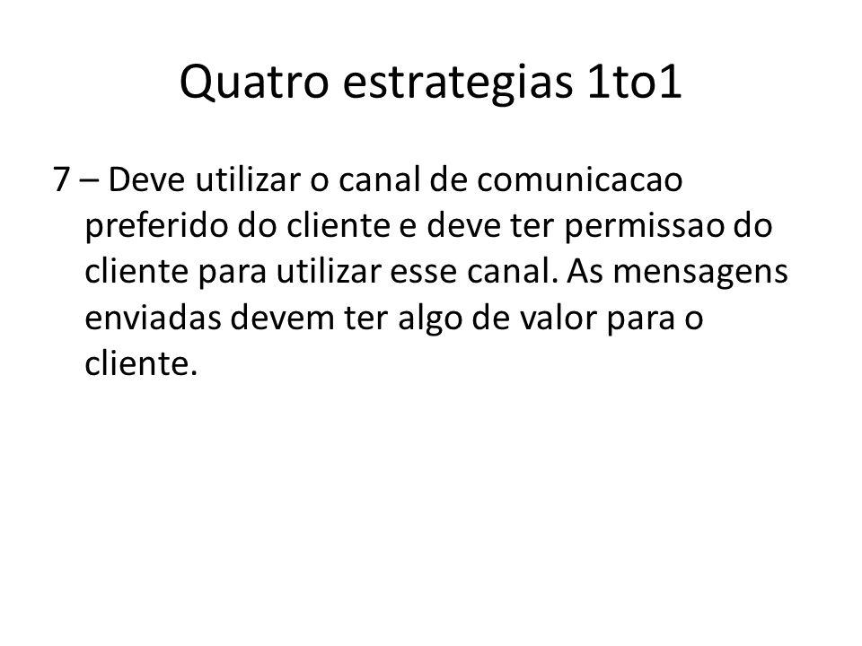 Quatro estrategias 1to1 7 – Deve utilizar o canal de comunicacao preferido do cliente e deve ter permissao do cliente para utilizar esse canal. As men