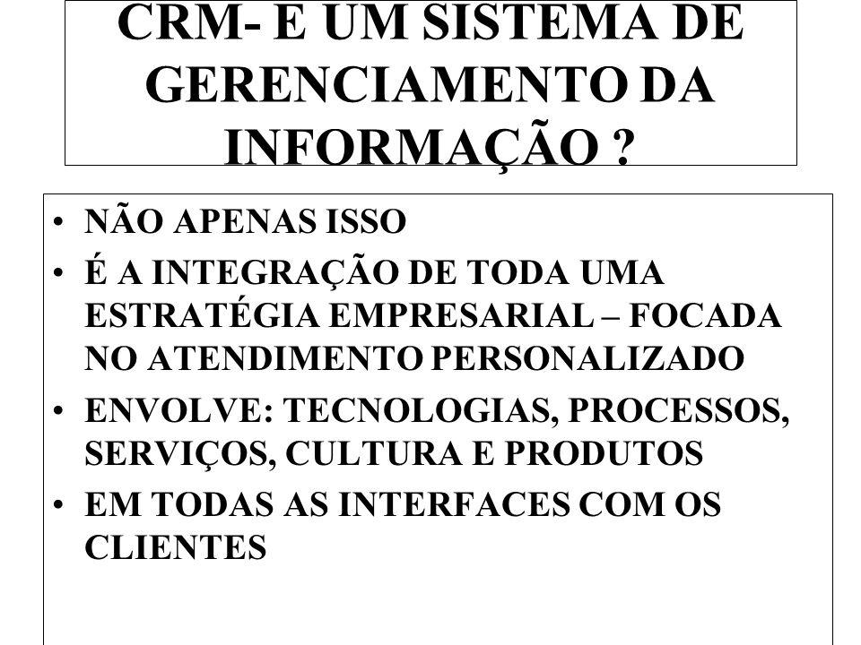 CRM- É UM SISTEMA DE GERENCIAMENTO DA INFORMAÇÃO .