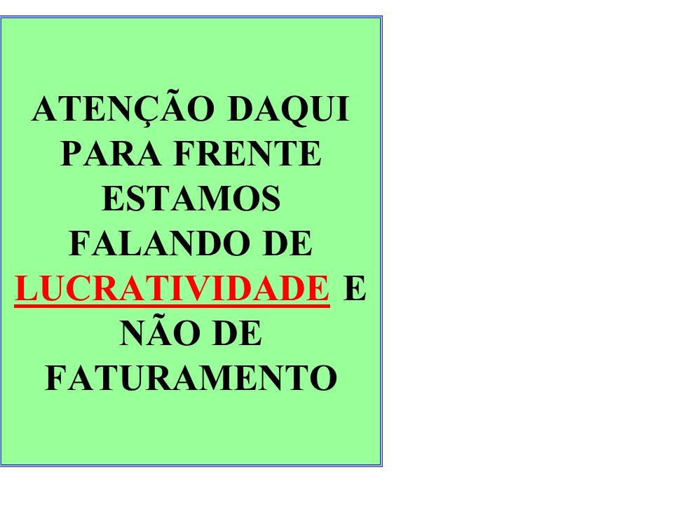ATENÇÃO DAQUI PARA FRENTE ESTAMOS FALANDO DE LUCRATIVIDADE E NÃO DE FATURAMENTO
