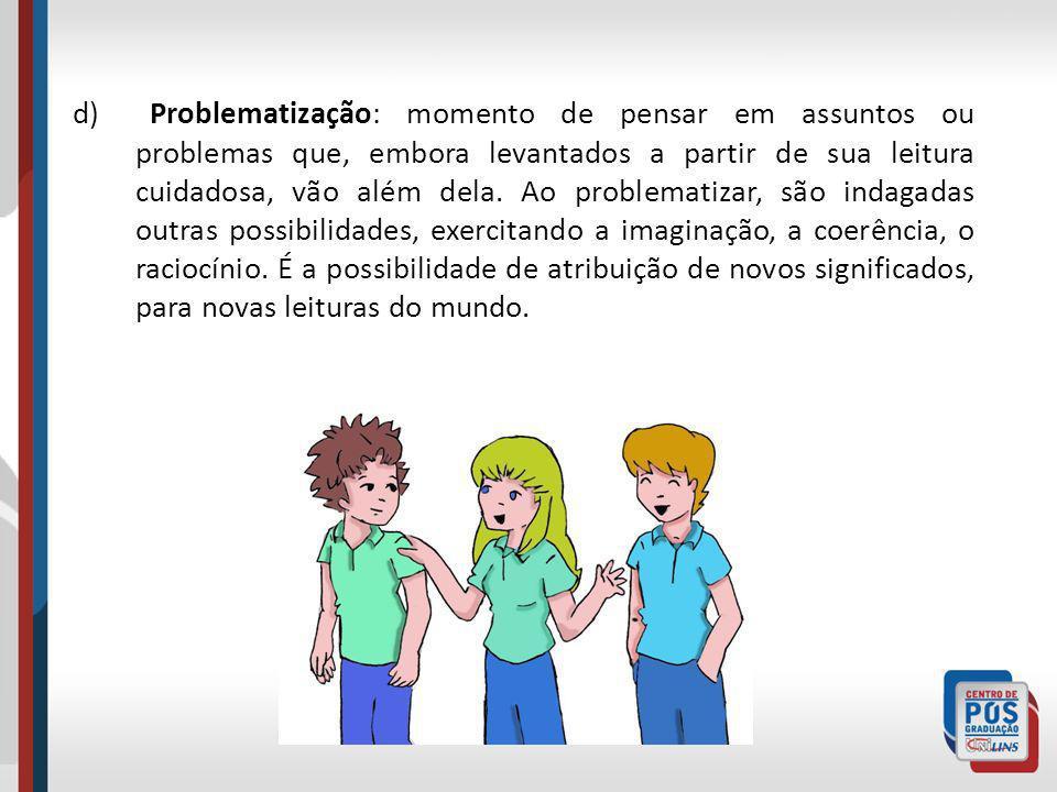 d) Problematização: momento de pensar em assuntos ou problemas que, embora levantados a partir de sua leitura cuidadosa, vão além dela. Ao problematiz