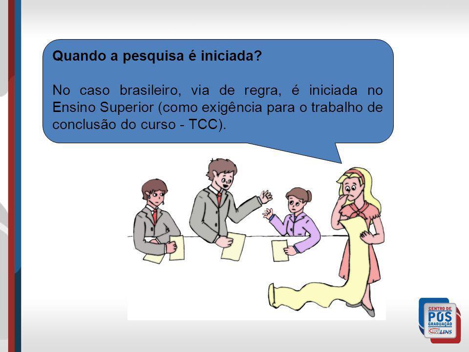 Quando a pesquisa é iniciada? No caso brasileiro, via de regra, é iniciada no Ensino Superior (como exigência para o trabalho de conclusão do curso -