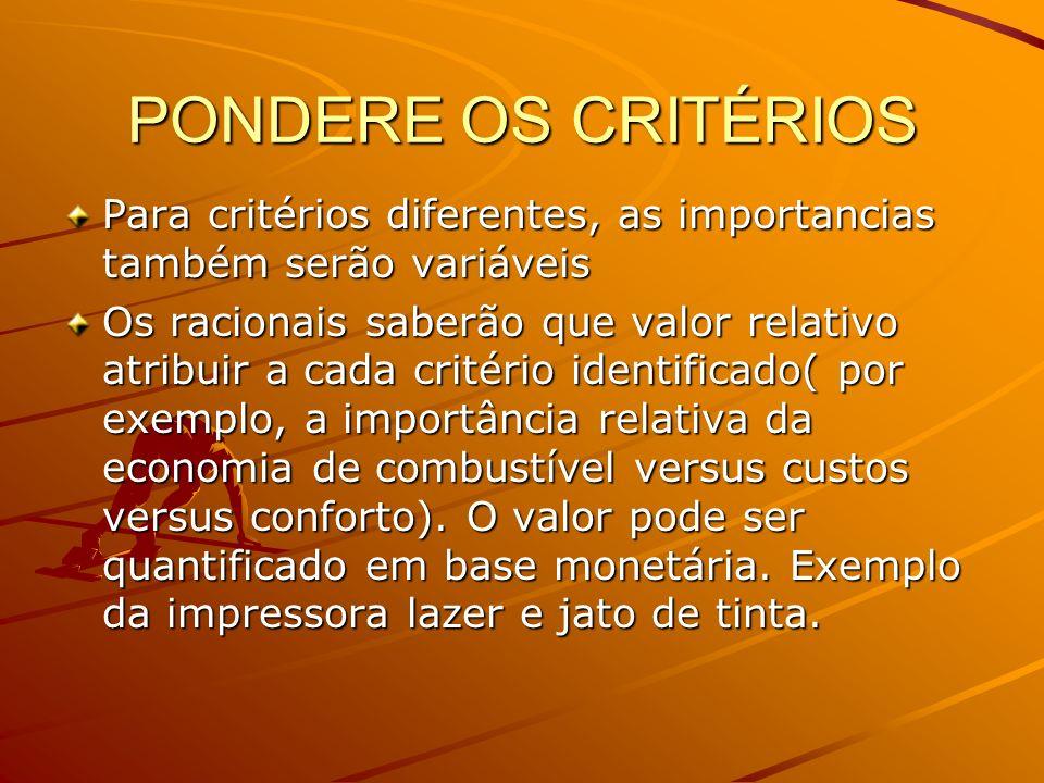 PONDERE OS CRITÉRIOS Para critérios diferentes, as importancias também serão variáveis Os racionais saberão que valor relativo atribuir a cada critéri