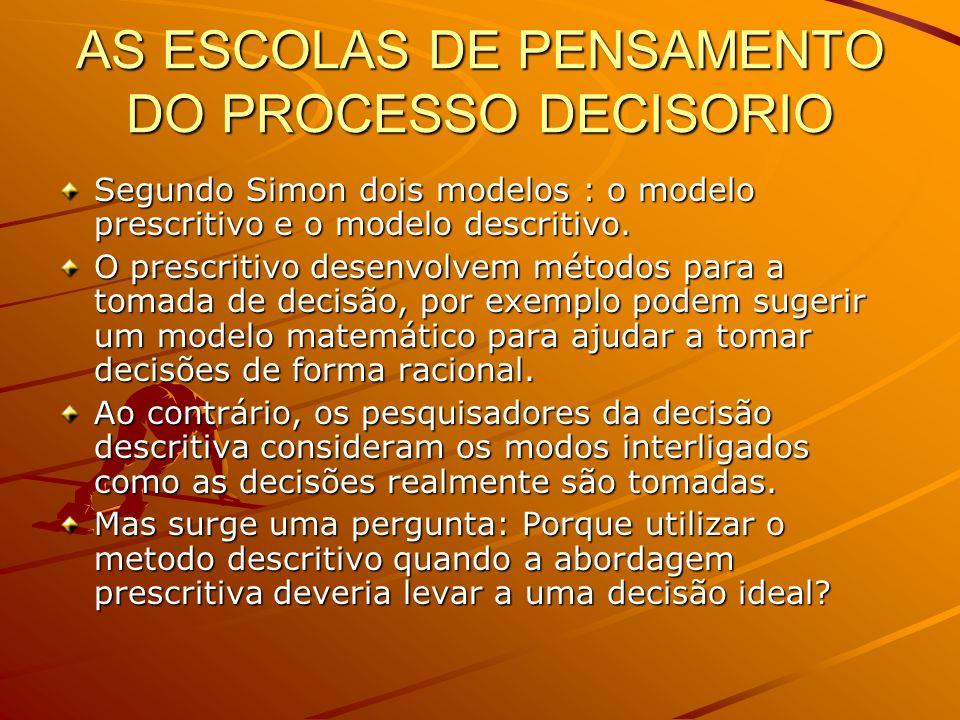 AS ESCOLAS DE PENSAMENTO DO PROCESSO DECISORIO Segundo Simon dois modelos : o modelo prescritivo e o modelo descritivo. O prescritivo desenvolvem méto