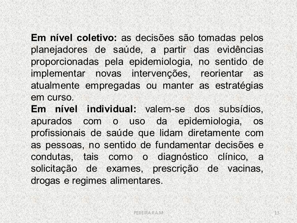 Em nível coletivo: as decisões são tomadas pelos planejadores de saúde, a partir das evidências proporcionadas pela epidemiologia, no sentido de imple