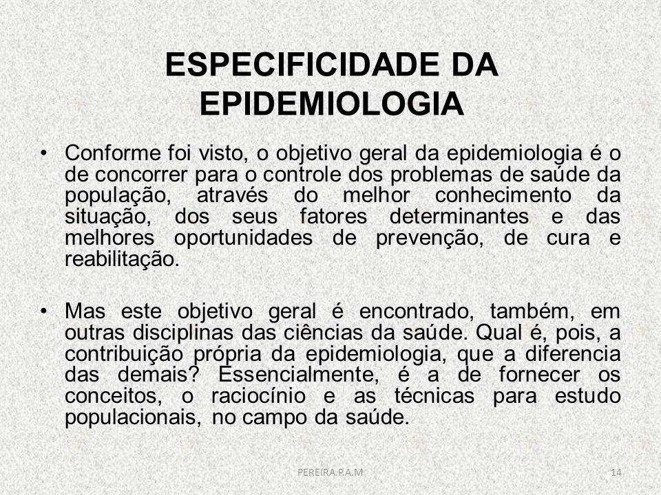 ESPECIFICIDADE DA EPIDEMIOLOGIA Conforme foi visto, o objetivo geral da epidemiologia é o de concorrer para o controle dos problemas de saúde da popul