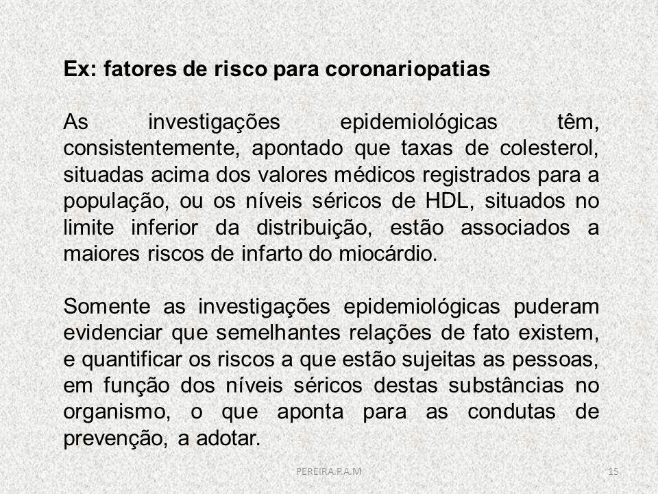 Ex: fatores de risco para coronariopatias As investigações epidemiológicas têm, consistentemente, apontado que taxas de colesterol, situadas acima dos