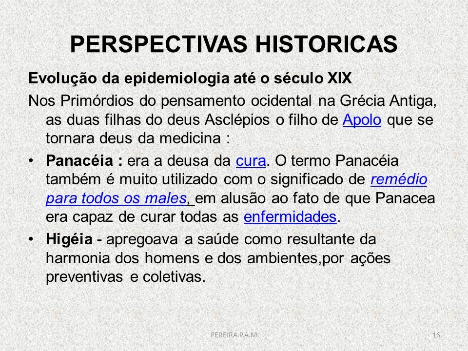PERSPECTIVAS HISTORICAS Evolução da epidemiologia até o século XIX Nos Primórdios do pensamento ocidental na Grécia Antiga, as duas filhas do deus Asc