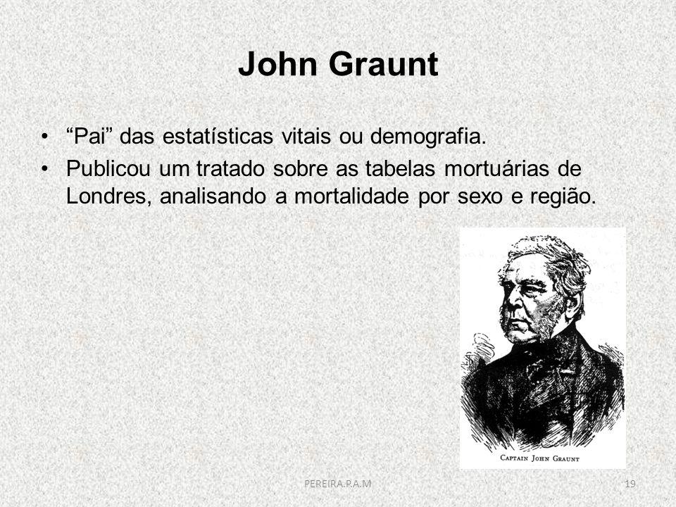 John Graunt Pai das estatísticas vitais ou demografia. Publicou um tratado sobre as tabelas mortuárias de Londres, analisando a mortalidade por sexo e