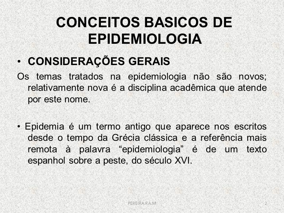 CONCEITOS BASICOS DE EPIDEMIOLOGIA CONSIDERAÇÕES GERAIS Os temas tratados na epidemiologia não são novos; relativamente nova é a disciplina acadêmica