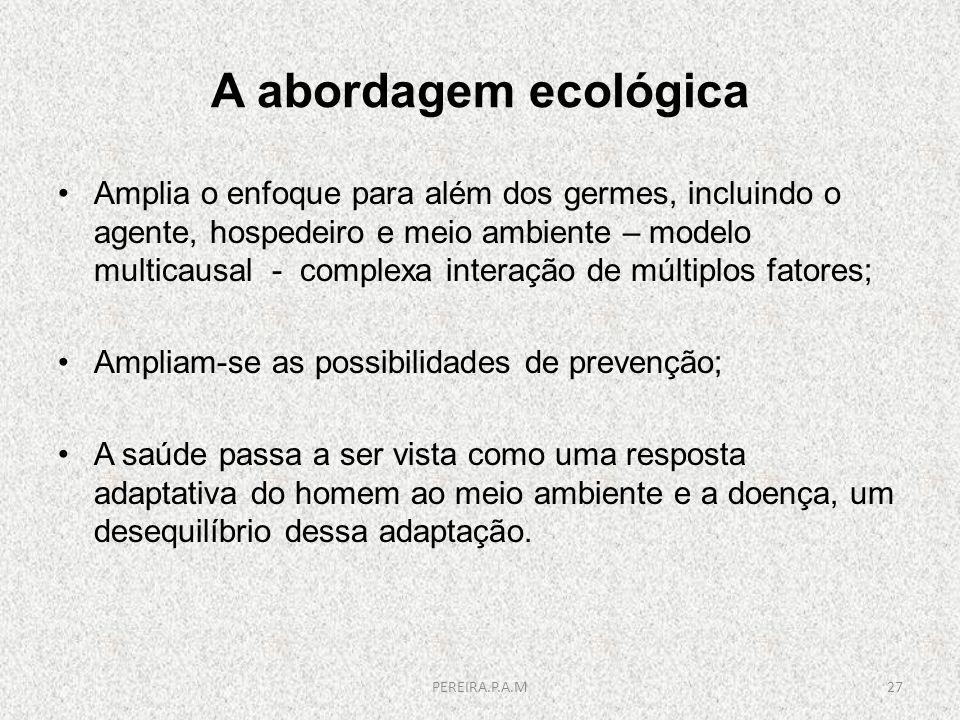 A abordagem ecológica Amplia o enfoque para além dos germes, incluindo o agente, hospedeiro e meio ambiente – modelo multicausal - complexa interação