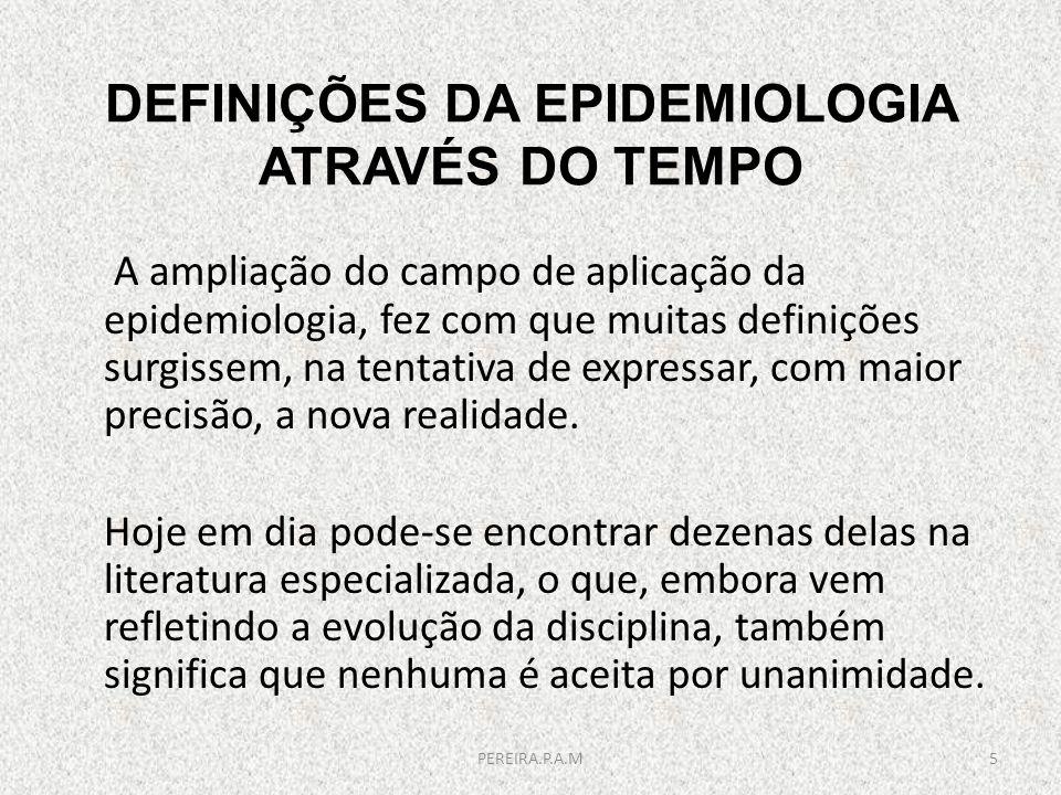 DEFINIÇÕES DA EPIDEMIOLOGIA ATRAVÉS DO TEMPO A ampliação do campo de aplicação da epidemiologia, fez com que muitas definições surgissem, na tentativa