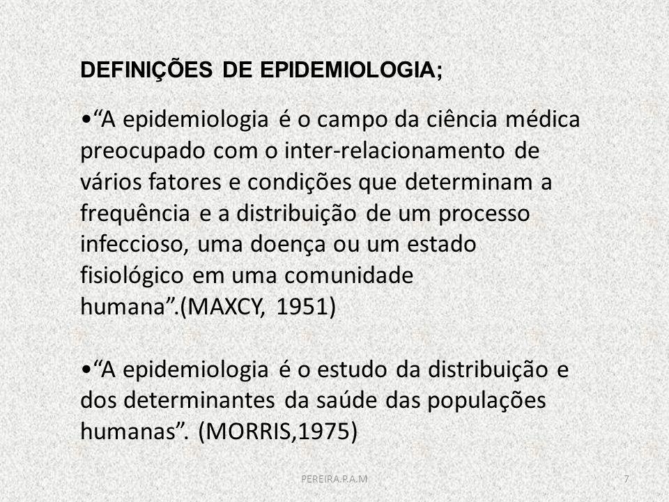 DEFINIÇÕES DE EPIDEMIOLOGIA; A epidemiologia é o campo da ciência médica preocupado com o inter-relacionamento de vários fatores e condições que deter