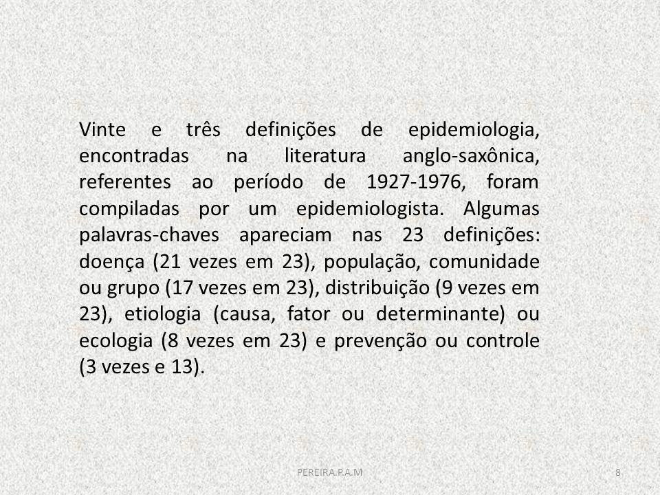 Vinte e três definições de epidemiologia, encontradas na literatura anglo-saxônica, referentes ao período de 1927-1976, foram compiladas por um epidem