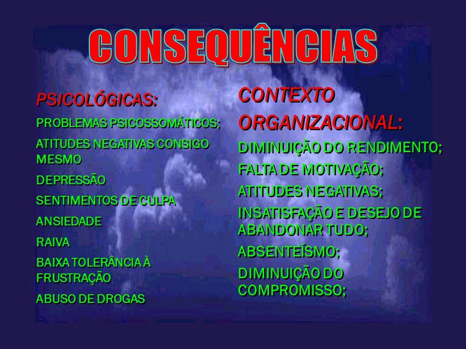PSICOLÓGICAS: PROBLEMAS PSICOSSOMÁTICOS; ATITUDES NEGATIVAS CONSIGO MESMO DEPRESSÃO SENTIMENTOS DE CULPA ANSIEDADE RAIVA BAIXA TOLERÂNCIA À FRUSTRAÇÃO