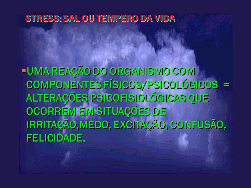 STRESS: SAL OU TEMPERO DA VIDA UMA REAÇÃO DO ORGANISMO COM COMPONENTES FÍSICOS/PSICOLÓGICOS = ALTERAÇÕES PSICOFISIOLÓGICAS QUE OCORREM EM SITUAÇÕES DE
