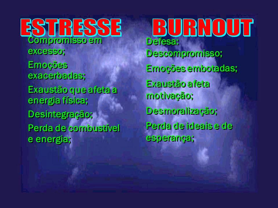 Compromisso em excesso; Emoções exacerbadas; Exaustão que afeta a energia física; Desintegração; Perda de combustível e energia; Compromisso em excess