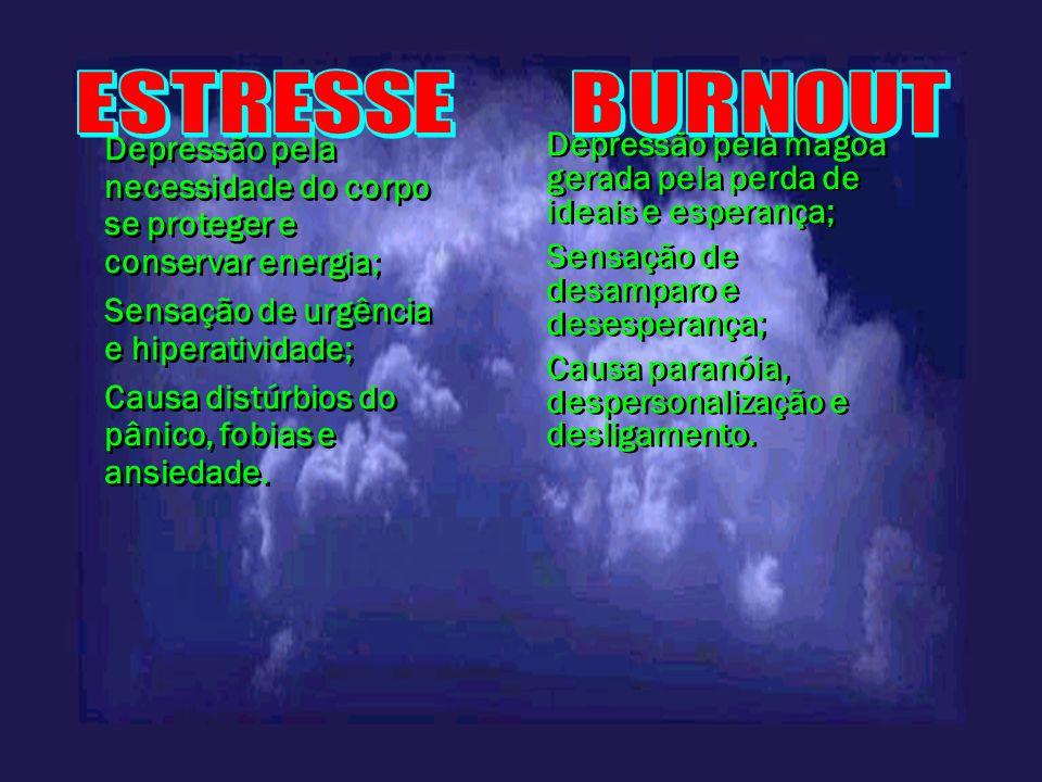 Depressão pela necessidade do corpo se proteger e conservar energia; Sensação de urgência e hiperatividade; Causa distúrbios do pânico, fobias e ansie