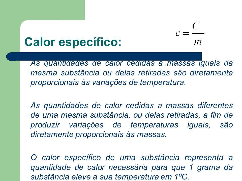 Calor específico: As quantidades de calor cedidas a massas iguais da mesma substância ou delas retiradas são diretamente proporcionais às variações de