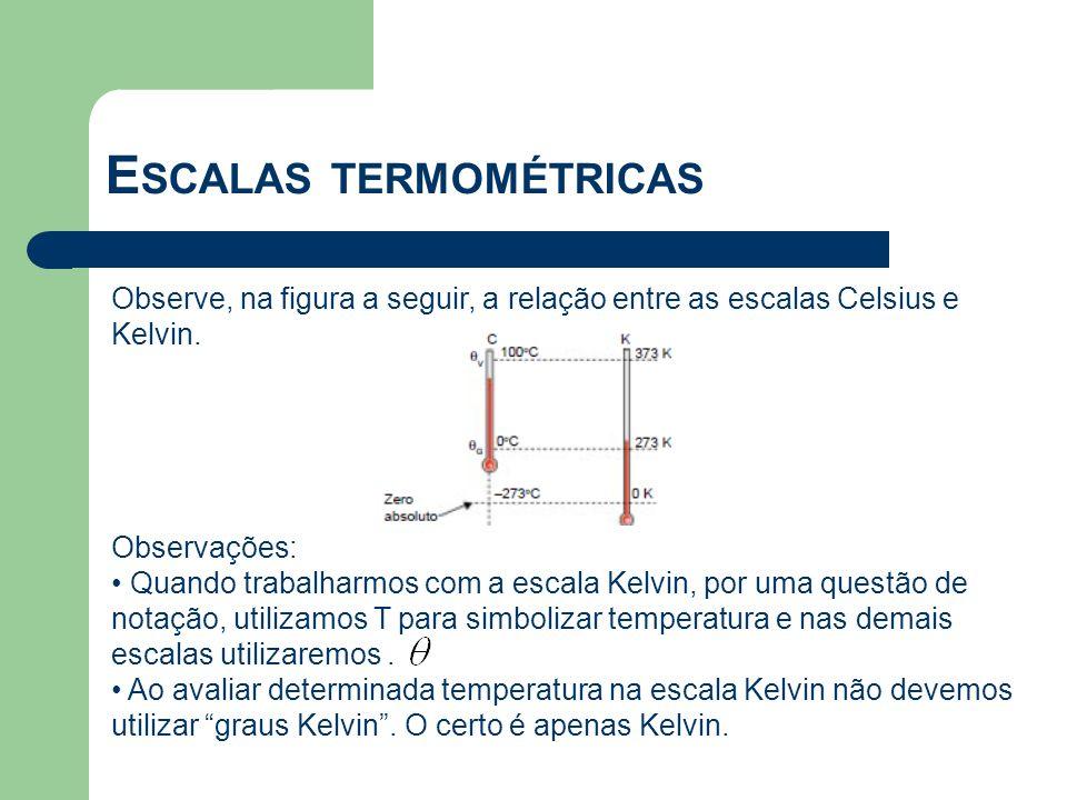 Observe, na figura a seguir, a relação entre as escalas Celsius e Kelvin. Observações: Quando trabalharmos com a escala Kelvin, por uma questão de not
