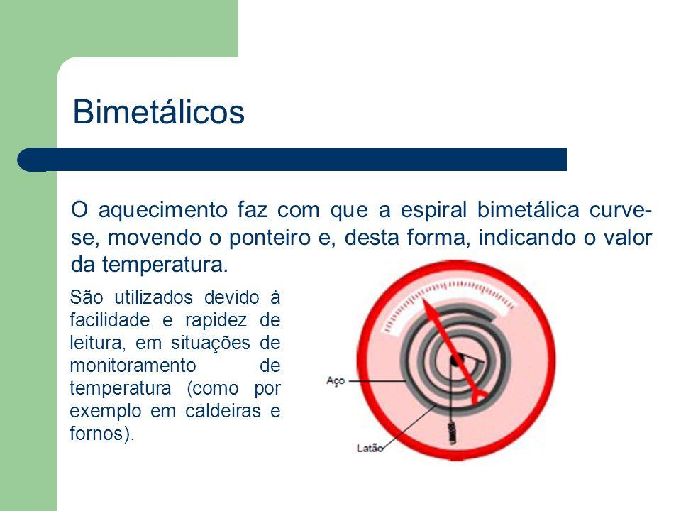 O aquecimento faz com que a espiral bimetálica curve- se, movendo o ponteiro e, desta forma, indicando o valor da temperatura. Bimetálicos São utiliza