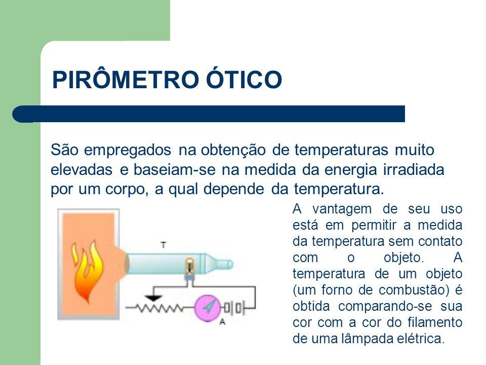 São empregados na obtenção de temperaturas muito elevadas e baseiam-se na medida da energia irradiada por um corpo, a qual depende da temperatura. PIR