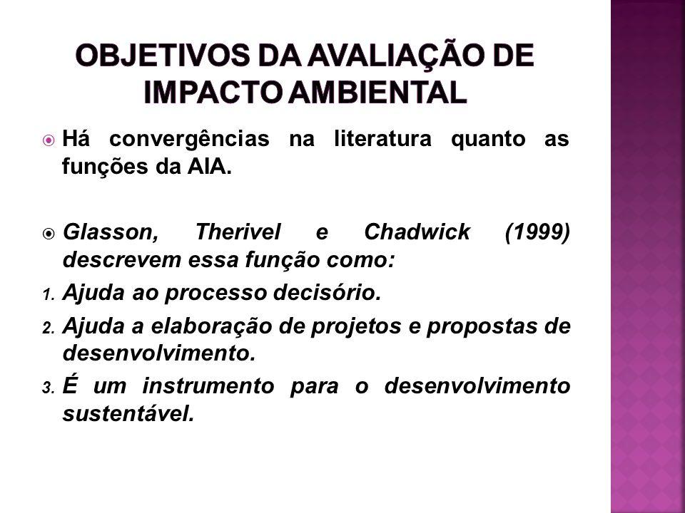 Há convergências na literatura quanto as funções da AIA. Glasson, Therivel e Chadwick (1999) descrevem essa função como: 1. Ajuda ao processo decisóri