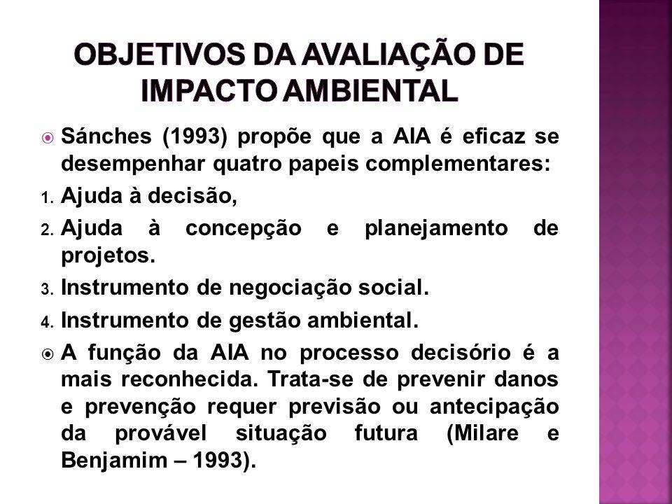 Sánches (1993) propõe que a AIA é eficaz se desempenhar quatro papeis complementares: 1. Ajuda à decisão, 2. Ajuda à concepção e planejamento de proje
