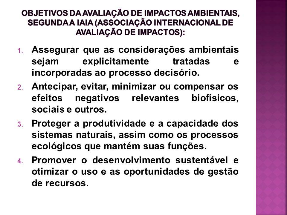1. Assegurar que as considerações ambientais sejam explicitamente tratadas e incorporadas ao processo decisório. 2. Antecipar, evitar, minimizar ou co