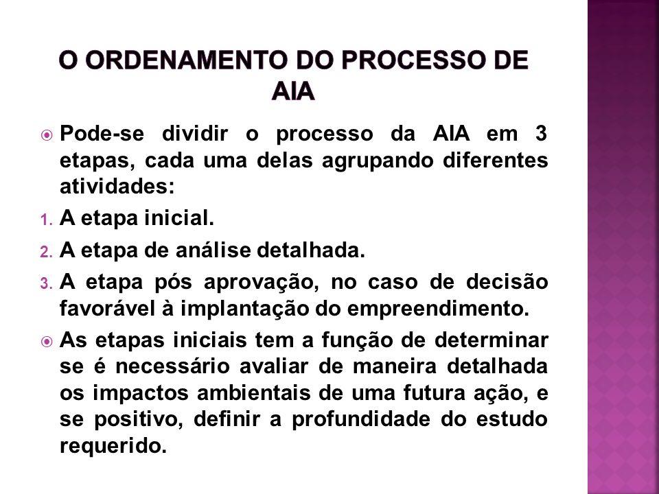 Pode-se dividir o processo da AIA em 3 etapas, cada uma delas agrupando diferentes atividades: 1. A etapa inicial. 2. A etapa de análise detalhada. 3.