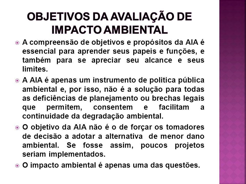 Ortolano e Shepherd (1995) enumeram alguns efeitos da AIA sobre os projetos, ou seja, resultados reais da AIA e sua influência nas decisões: 1) Retirada de projetos inviáveis.