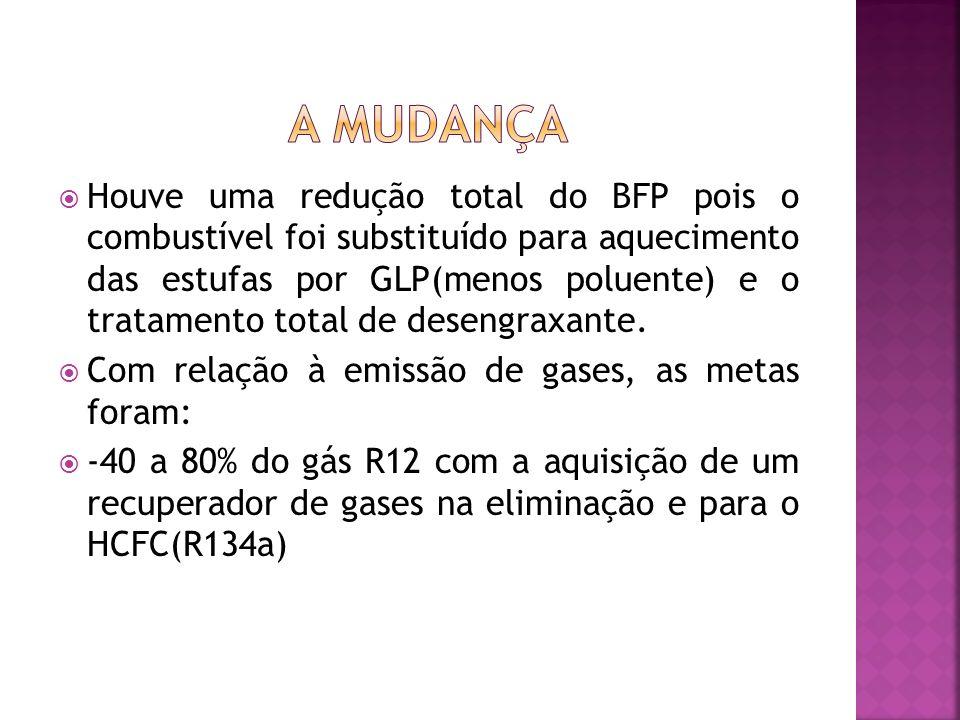 Houve uma redução total do BFP pois o combustível foi substituído para aquecimento das estufas por GLP(menos poluente) e o tratamento total de desengraxante.