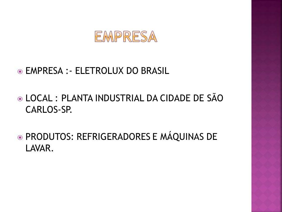 EMPRESA :- ELETROLUX DO BRASIL LOCAL : PLANTA INDUSTRIAL DA CIDADE DE SÃO CARLOS-SP. PRODUTOS: REFRIGERADORES E MÁQUINAS DE LAVAR.