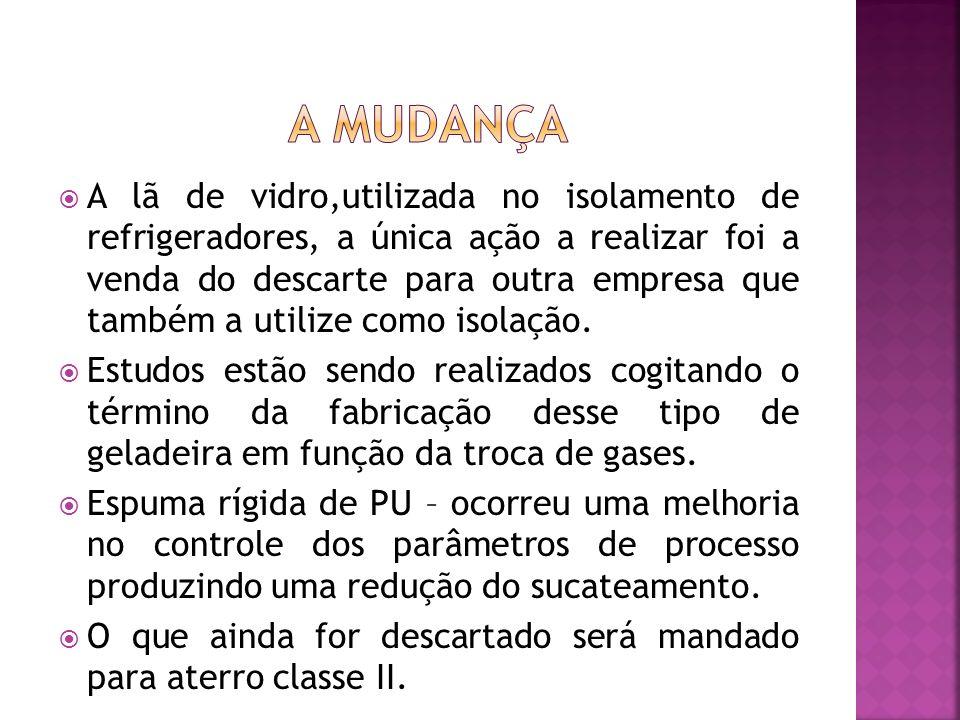 A lã de vidro,utilizada no isolamento de refrigeradores, a única ação a realizar foi a venda do descarte para outra empresa que também a utilize como isolação.