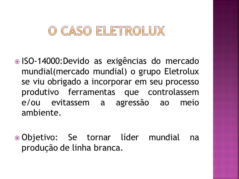 ISO-14000:Devido as exigências do mercado mundial(mercado mundial) o grupo Eletrolux se viu obrigado a incorporar em seu processo produtivo ferramentas que controlassem e/ou evitassem a agressão ao meio ambiente.
