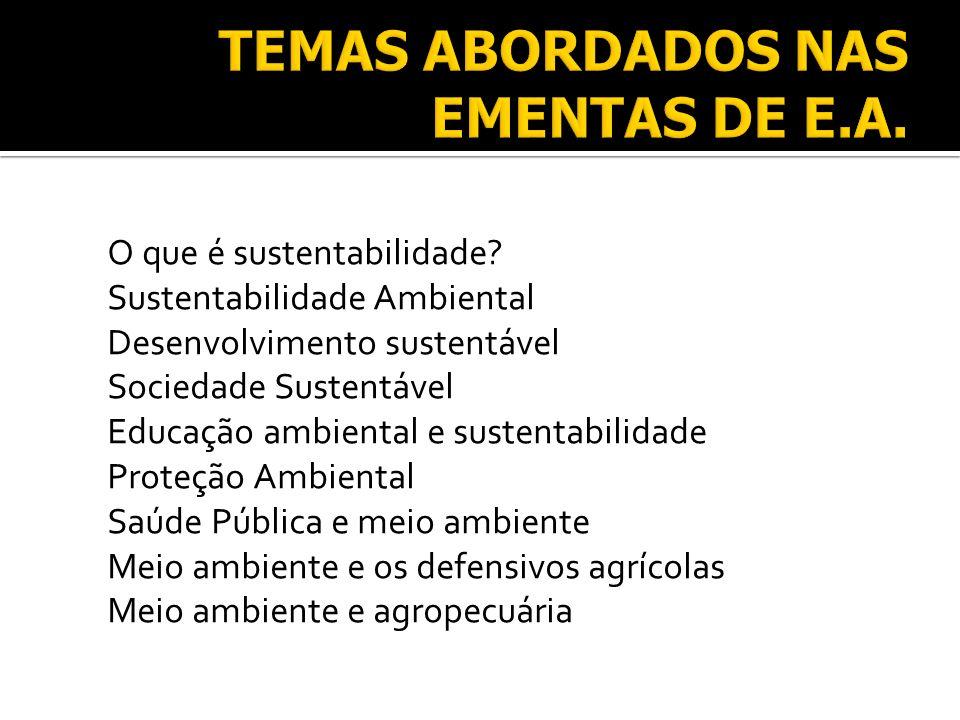 Planejamento Ambiental Sociedades Sustentáveis e a Amazônia Educação Ambiental Formal Educação Ambiental - uma visão interdisciplinar Educação Ambiental Não-formal Esferas da Educação Ambiental Educação ambiental nas empresas Empresas com políticas ambientais Educação Ambiental e Ecoturismo