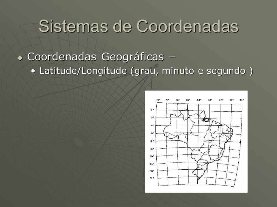 Sistemas de Coordenadas Coordenadas Geográficas – Coordenadas Geográficas – Latitude/Longitude (grau, minuto e segundo )Latitude/Longitude (grau, minu